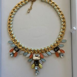 Statement Crystal Necklace w/ threaded chain.